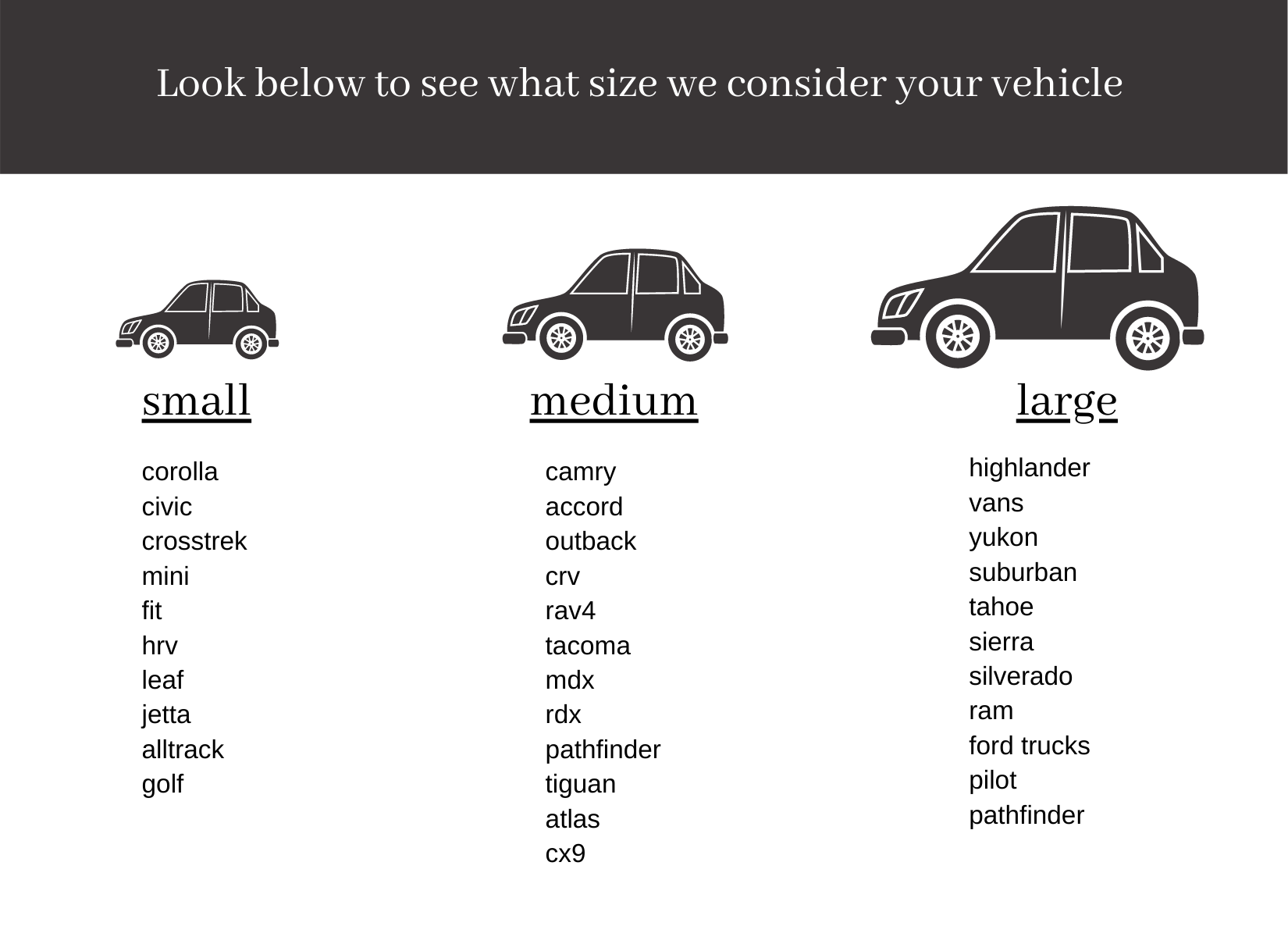 Vehicle Size Graphic